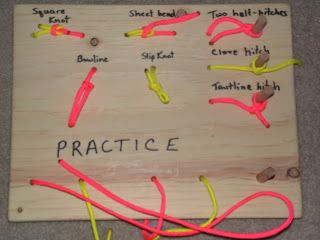 Knot practice boards for Cub Scouts or Girl Scouts. I need one for ME first. Ugh! I am SO bad at knots. Add this to the list of things we need to make.