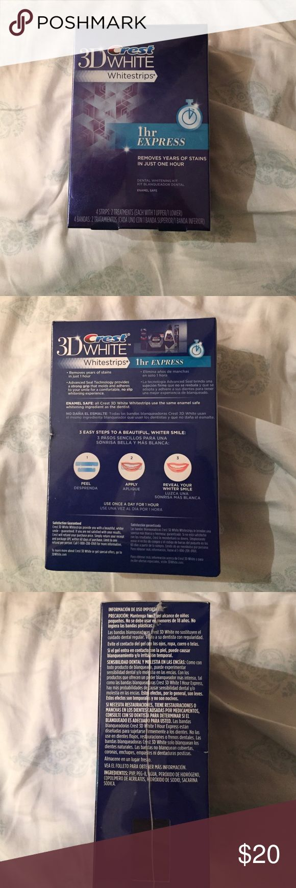 3D Crest White 1Hour Expresses Strips This is 1hour Express Crest white strip New In Box Never Opened. These retail for $45 my price is firm great great deal!!!! Crest  Makeup