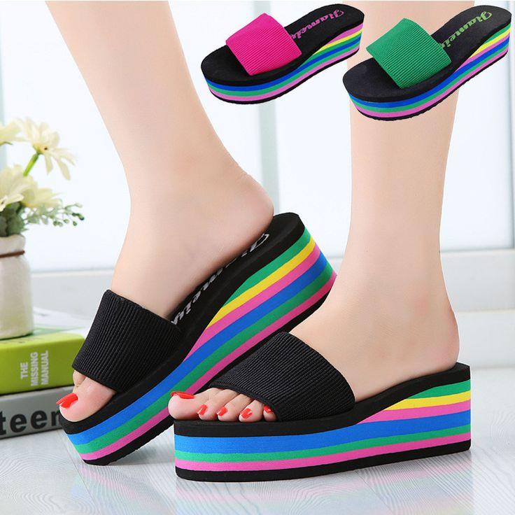 Wedges Slippers Women 2016 Platform Sandals Wedge Slides Rainbow Thick Heel Sandals Ladies Shoes Women Summer Shoes Beach - CattleyaStore CattleyaStore