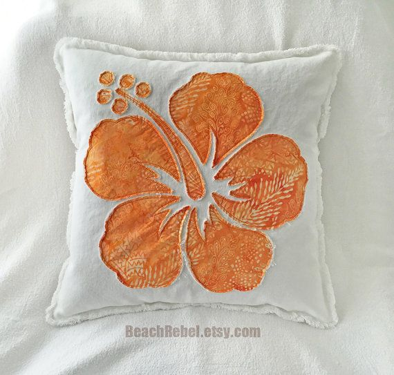 """Hibiscus flower pillow cover in orange floral and leaf batik and white denim boho pillow cover 18.  This listing is for one 18"""" square pillow cover, pillow insert not included. Construction is 100% cotton with all new materials. Front is batik hibiscus applique on white 10oz denim and back is the same denim with buttoned closure. Pillow is washed once to rag out the edges. These pillow covers can be machine washed delicate, no bleach, and machine dried till damp then lay flat to dry…"""