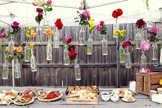 flowers: Decor, Wedding Ideas, Flower In Bottle, Wine Bottle, Hanging Flower, Flower Vase, Gardens Parties, Backyard Wedding, Winebottle