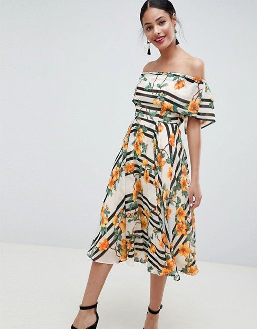 fdab635418d DESIGN Soft Bandeau Midi Dress In Stripe And Floral Print in 2019 ...