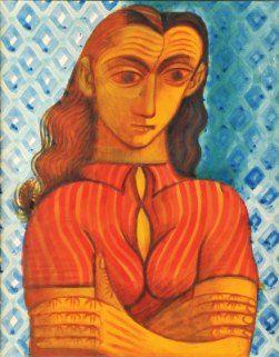 """Desenho de Almada Negreiros, """"Retrato de senhora"""", guache sobre papel. não assinado."""