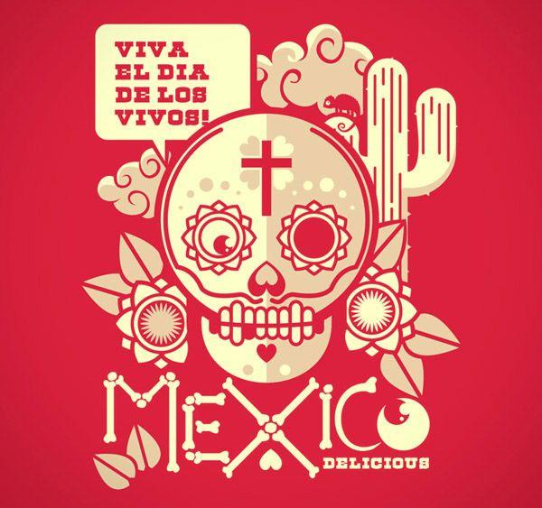 Brazilian illustrator Draco created this Mexican inspired design Viva el Dia de los vivos! via ideafixa.    VIVA LA VIDA!