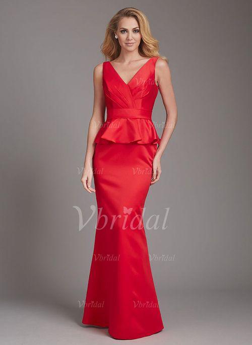 Bridesmaid Dresses - $110.00 - Sheath/Column V-neck Floor-Length Satin Bridesmaid Dress With Ruffle (00705006040)