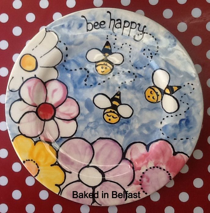 Bee Happy Hand Painted Pottery Plate