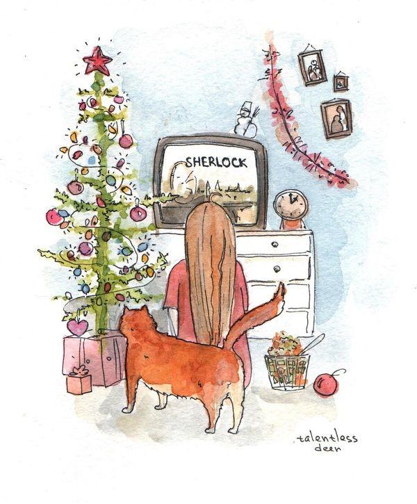В ожидании Нового года Новый Год, шх, шерлок, рисунок, акварель, арт, скетч, иллюстрации