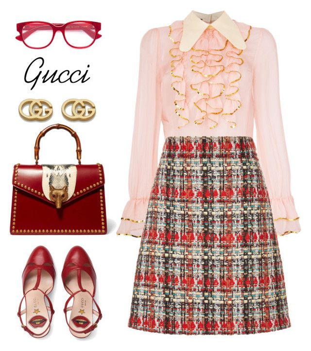 """""""Feeling Refreshed on Monday"""" by ames-ym on Polyvore featuring Gucci, gucci, tweedskirt and ruffleblouse"""