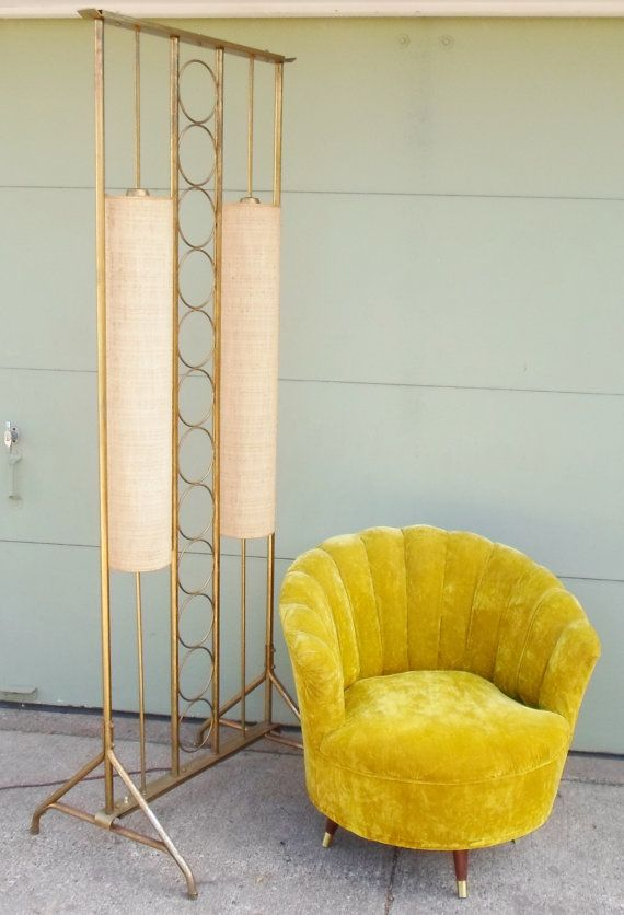 Vintage Mid Century Modern Floor Lamp, Room Divider, Pole Lamp, Lighting, Atomic, Brass, Circles, Fabric Shades