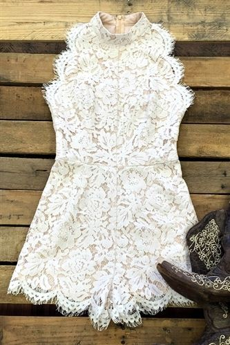 Three Times A Woman Lace Romper - Ivory & Black $42.88! #southernfriedchics