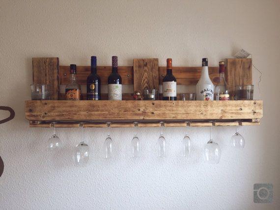 Upcycling pallet rack flambéed bar wine rack from EPAL pallet furniture 120x35cm