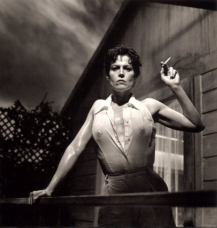 """Sigourney Weaver"" in 1995 by Helmut Newton (Berlin 1920-Los Angeles 2004). Was a German-Australian photographer. Helmut established a particular style marked by erotic, stylized scenes, often with sado-masochistic and fetishistic subtexts. The actress Sigourney Weaver was 46 years old when this photo was taken for Vanity Fair."