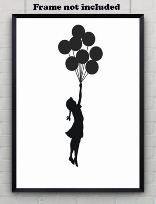 Details about Banksy Graffiti Girl with Balloons Wall Art Black and White Poster Room Decor   – Måla projekt