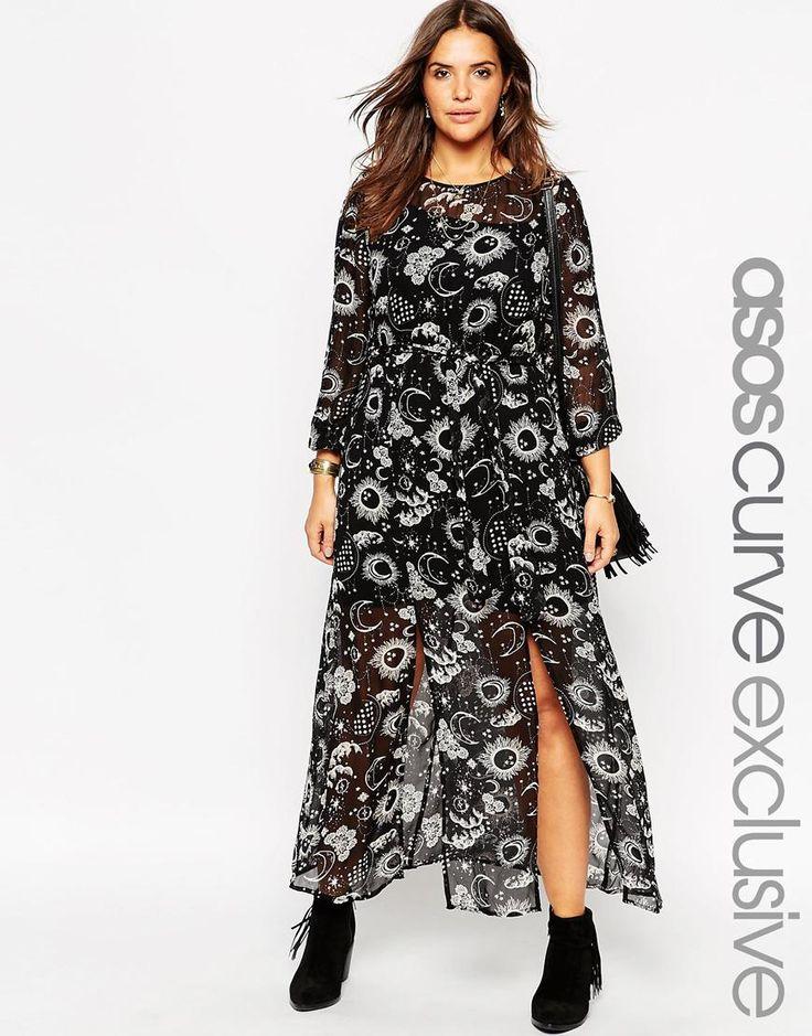 Image 1 ofASOS CURVE Maxi Dress in Moon & Star Print