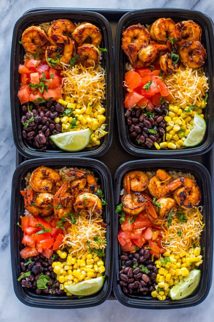 Insanely delicious spicy taco spiced shrimp bowls loaded with cheese, black beans, corn, brown rice and tomato. Make a week's worth of lunch in under 30 minutes.Shrimp tacos on a weekday jus…