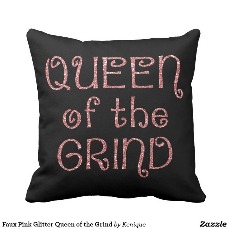 Faux Pink Glitter Queen of the Grind Throw Pillow