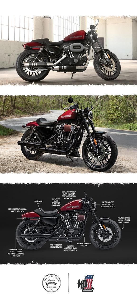 Stoplight-to-stoplight power, agility and garage-built custom style to shatter every mold. | 2017 Harley-Davidson Roadster