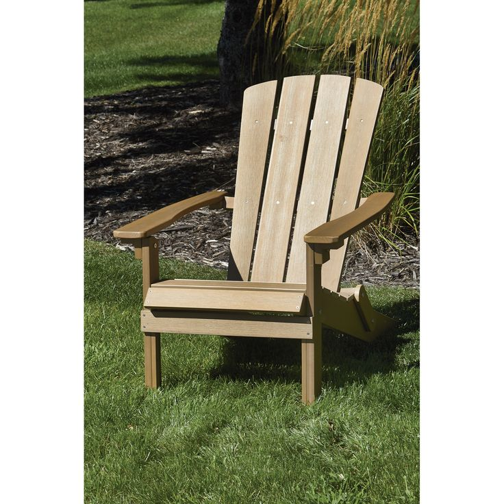 This Stonegate Designs Brown Composite Adirondack Chair has simple, rustic style, and since it's made from resin plastic, it will last longer than a traditional wooden chair.