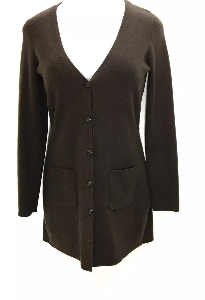 Ann Taylor Womens Sweater Dress Size M Wool Blend Button Down Ls 2