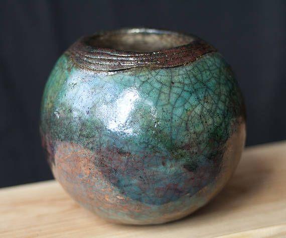 Ceramic ball raku white turquoise green brown copper