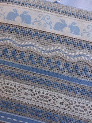 Inspiration: Mix ribbons, lace, and counted cross Steekjes & Kruisjes van Marijke