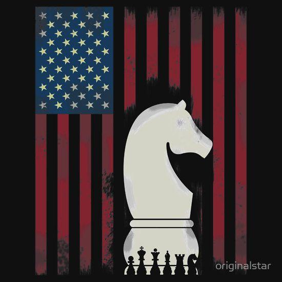 Chess - schach pferd spieler matt usa flagge könig dame turm läufer stolz schachspieler