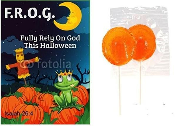 "You get 25 orange lollipops and 25 Bible tracts. Lollipops are 3"". Bible tracts are about 3"" by 4"" in size. Each one says, F.R.O.G. Fully Rely On God this Halll"