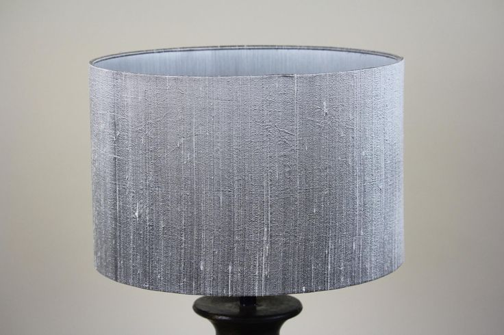 Handmade 35cm Drum - Smooth silk 'Silver Star', Brushed silver inner. Amal wooden base available at https://www.cotterellandco.com/amal-wooden-table-lamp-in-seal-grey-base-only