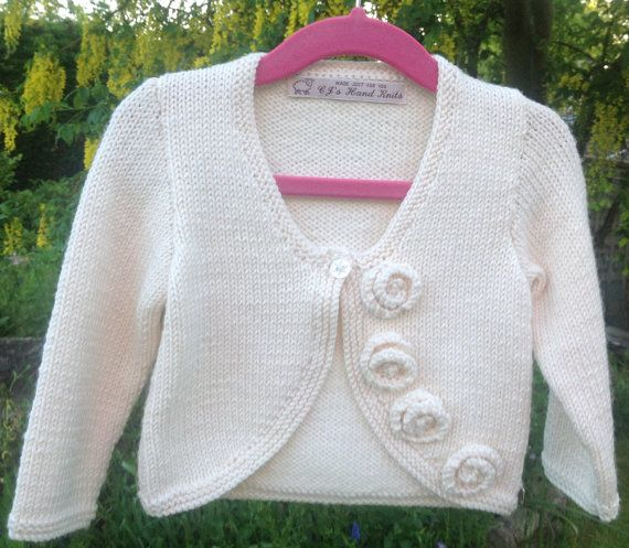 Girls Hand Knitted Sweater Rose Cardigan Size 1 to by CJsHandknits, £32.00