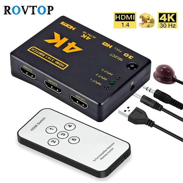 Rovtop Mini Hdmi Switcher 4k Hd1080p 3 5 Port Hdmi Switch Selector Splitter With Hub Ir Remote Controller For Hdtv Dvd Tv Box Z2 Review Hdmi Remote Hdtv