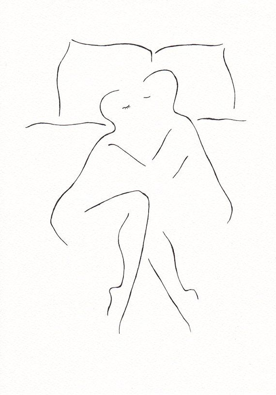 Man and woman in bed. Minimalist black and white line art. Drawing for bedroom decor – Dung Nguyen
