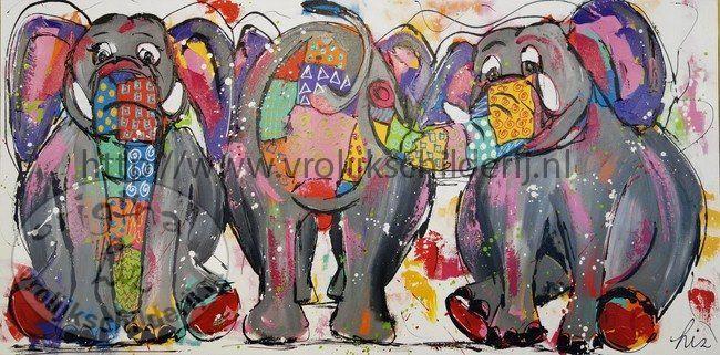 Vrolijk Schilderij Kleurrijke olifanten