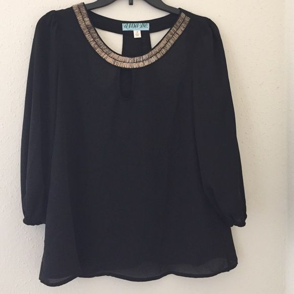 Black and Gold Collared Blouse Small Cute sheer black blouse with gold collar! Has shoulder cut-outs. Size Small, fits loose Tops Blouses