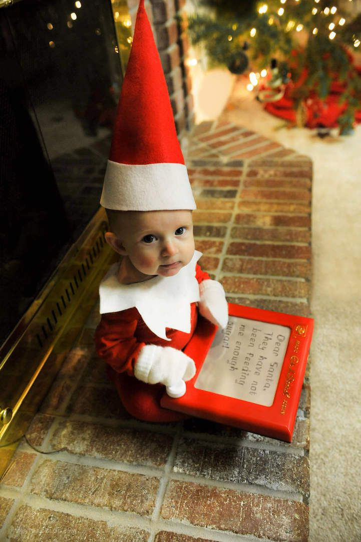 Dad Transforms His Adorable 4-Month-Old Son into a Real-Life Elf on the Shelf - My Modern Met
