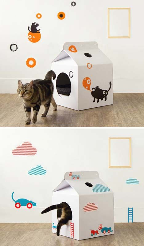A House for Kitty from Pop-Up Milk Carton - Cat house PD
