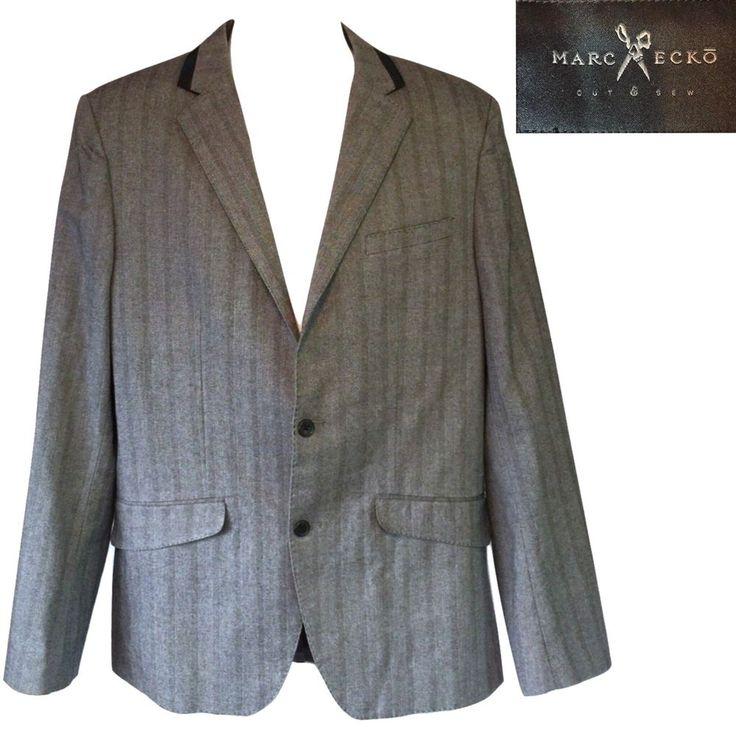 Marc Ecko Blazer Sport Coat Jacket Mens Size L Cut & Sew Grey Black Herringbone #MarcEcko #TwoButton