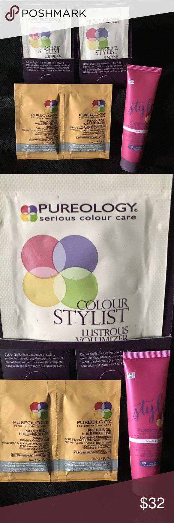 NWT! Pureology Hair Care 5Pc Gift Set! NWT! Pureology Hair Care 5Pc Gift Set! Includes Pureology Colour Stylist Lustrous Volumizer Bodifying Glaze for Colour Treated Hair (2), Pureology Precious Oil Shampoo & Conditioner (1 each) & Pureology Smooth PerfectionShaping Control Gel 30ml/1oz. Pureology Makeup