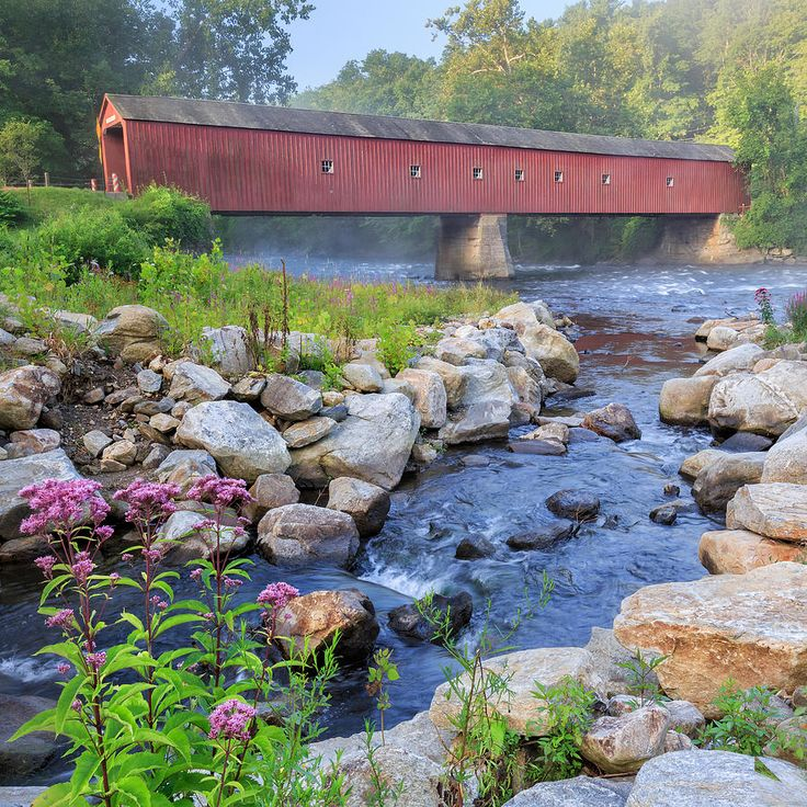 Summer Photograph - West Cornwall Covered Bridge Square by Bill Wakeley