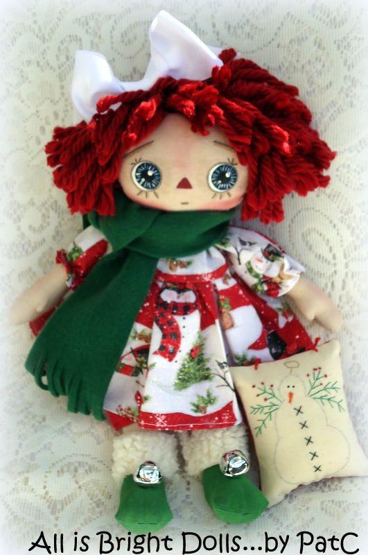 Snow Annie, Raggedy Ann, Primitive Rag Doll, Prim Rag Doll, Whimsical Doll, Handpainted Doll, Country Prim Decor, Winter Doll, 13 inch doll by Allisbright on Etsy