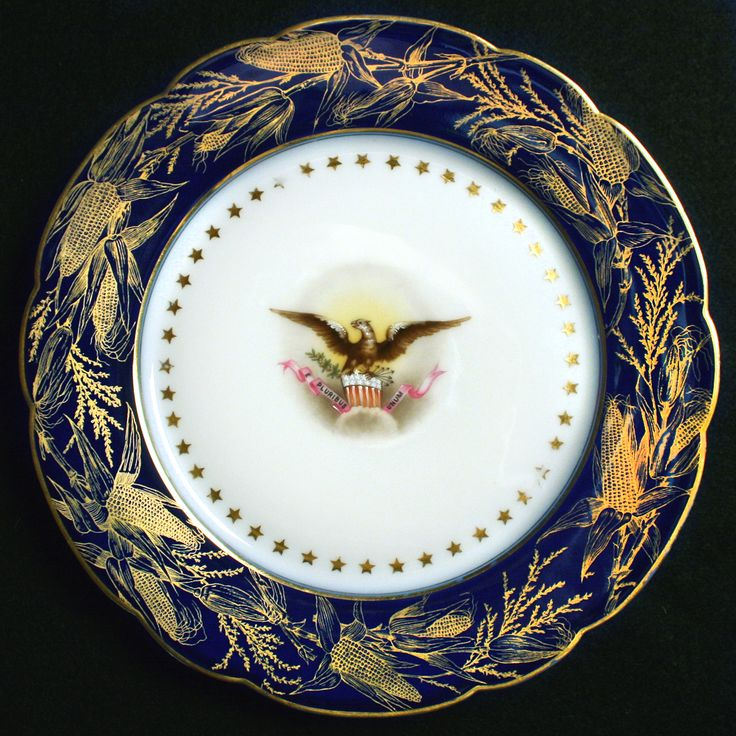 Benjamin Harrison, 23rd President (1889-1893), and First Lady Caroline Scott Harrison chose this Limoges pattern as their official state dinner china for the White House.