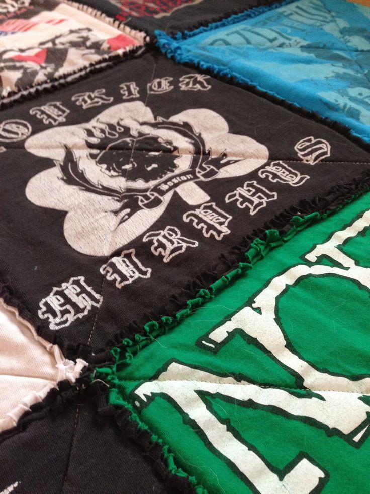 T-shirt Rag Quilt Tutorial - Quilting In The Rain. Hadn't thought of making one as a rag quilt.