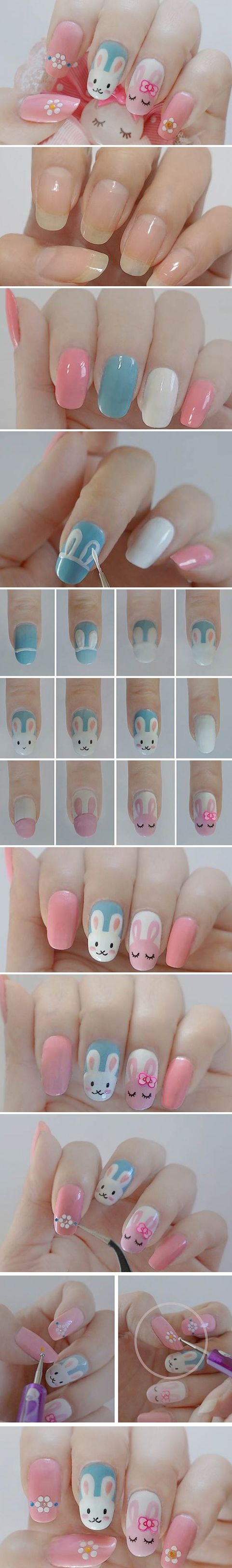 Adorable Bunnies Nail Art Tutorial in Pictures