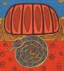 Ungud, the Rainbow Serpent coiled up asleep under Uluru