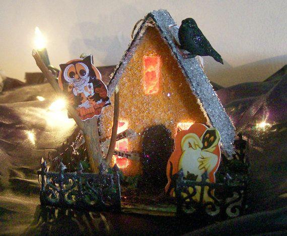 halloween  putz house | SALE / Vintage Putz Style Spooky Halloween Lighted Glitter House Owl ...