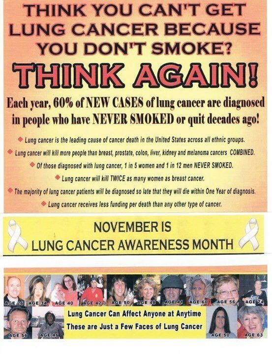 If you have lungs, you are at risk for lung cancer... In honor of November's lung cancer awareness month, learn the symptoms: Blood in cough, Recurring respiratory infections, Enduring cough that is new or different, Ache or pain in shoulder / back / chest, Trouble breathing, Hoarseness or wheezing, Exhaustion or weakness = BREATHE!