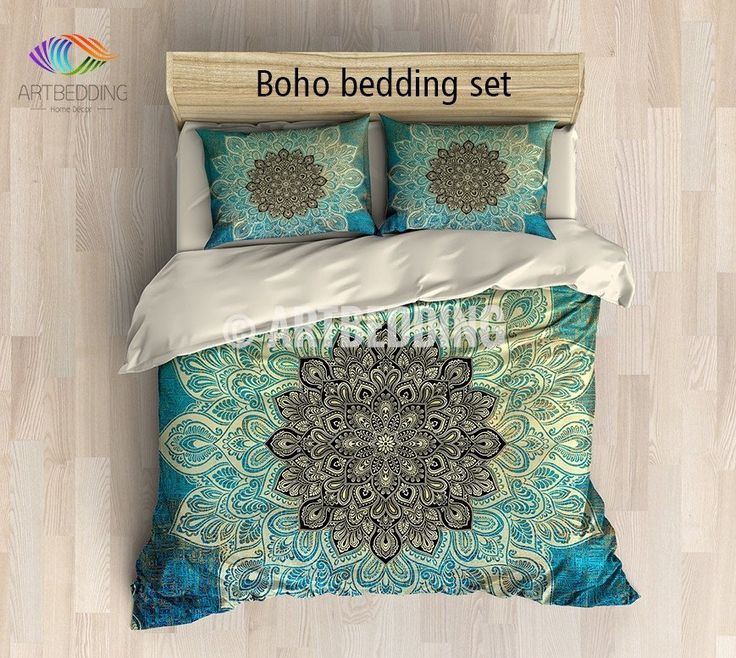 This beautiful multilayer ecru and black flower deco mandala vith a vintage feel is combined with a grunge texture in turquoise green and gold with matching design elements for an overall perfectly balanced and modern look. This boho chic bedding set will become the center point of any space.  Includes: 1 duvet cover / NO duvet insert/ and a set of 2 pillow coversOur Reversible down Duvet Cover set beautifully combines the practicality of a protective cover with the supreme softne...