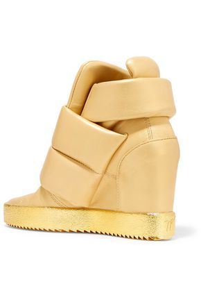 GIUSEPPE ZANOTTI Padded metallic leather wedge sneakers