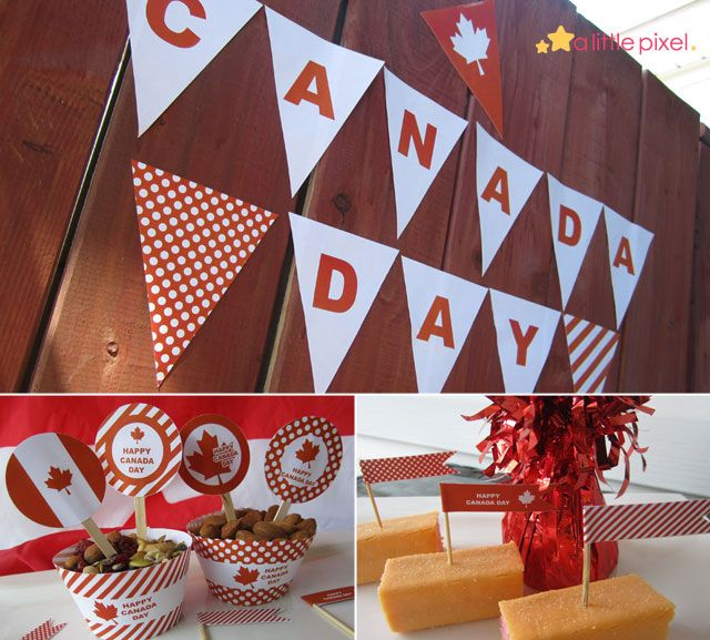 """Free Canada Day printable package. Pennant, cupcake wrappers, 2"""" Party Circles, Mini Flags."""