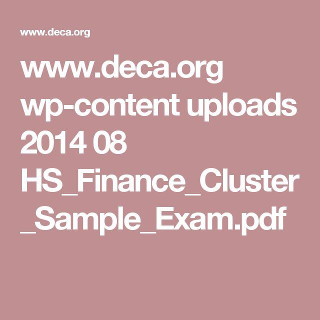www.deca.org wp-content uploads 2014 08 HS_Finance_Cluster_Sample_Exam.pdf