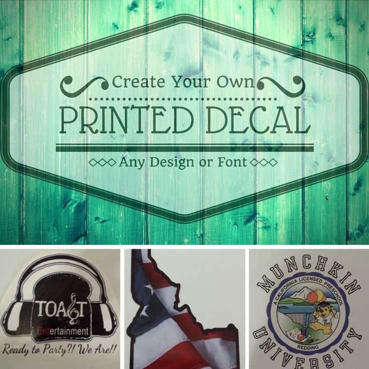 Large Custom Printed DecalCar DecalWall DecalCreate Your Own - Custom printed vinyl decals